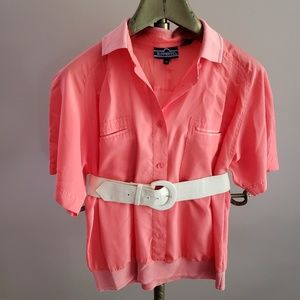 80s Vintage Polo Collared Blouse